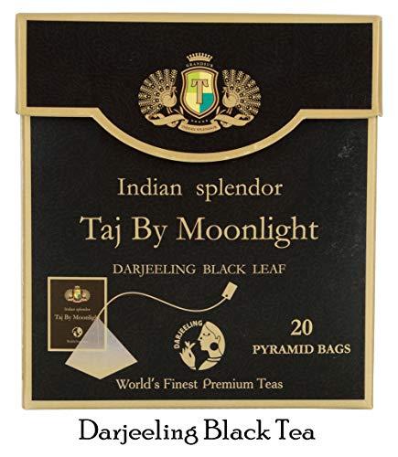 INDIAN SPLENDOR Taj By Moonlight - Exclusively Handpicked, 100% Pure and Natural, Premium Darjeeling Black Tea Leaf (Delicate Muscatel) in Pyramid Tea Bags.