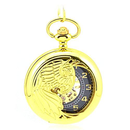 Gold Eagle Pocket Watch - LOCHING Luxury Mechanical Pocket Watch Eagle/Angel/Phoenix Wings Hollow Skeleton Steel Gold