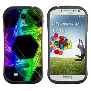 "Hypernova Slim Fit Dual Barniz Protector Caso Case Funda Para SAMSUNG Galaxy S4 IV / i9500 / i9515 / i9505G / SGH-i337 [Rainbow Negro Hexagon Colores""]"