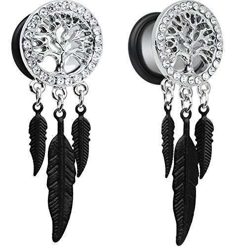 Body Candy Steel Single Flare Clear Accent Tree of Life Feat