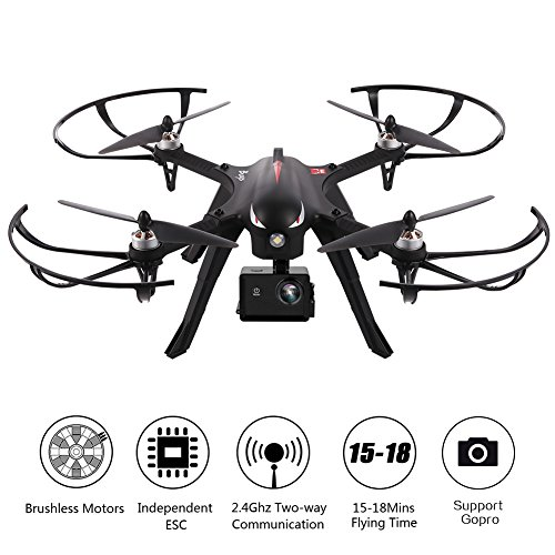 MJX Bugs 3 Brushless Drone RC Quadcopter,Dayan Anser Brushless Motors 300 Meters Control Distance,15 Mins Flying Time RTF Drone,Compatible with Gopro Hero HD Camera + Xiaomi Xiaoyi Motion Camera