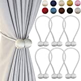 DELISIx 3 Pairs Magnetic Curtain Tieback 16 Inch Decorative Rope Holdback Simple Modern Tie Backs Holders for Home Curtains, Grey