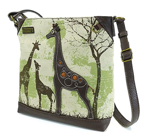 Giraffe Handbag Purse - Chala Safari Canvas Mid-Size Crossbody Messenger Bag - Giraffe