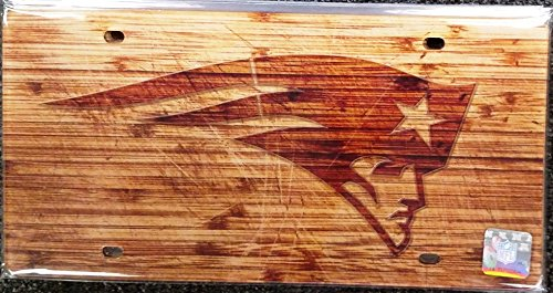 New England Patriots Woodgrain Acrylic License Plate