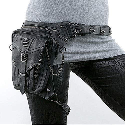 Black Gothic Rock PU Cuir Steampunk Sac à Main Taille Leg Pack Vintage Punk Épaule Messenger Bag Sac à Main téléphone
