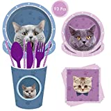 93 Pack Cat Party Supplies Set, DreamJ Cat Disposable Tableware with Cat Plates Cups Napkins More for Cats Birthday Theme Party Decoration(Cat Disposable Tableware)