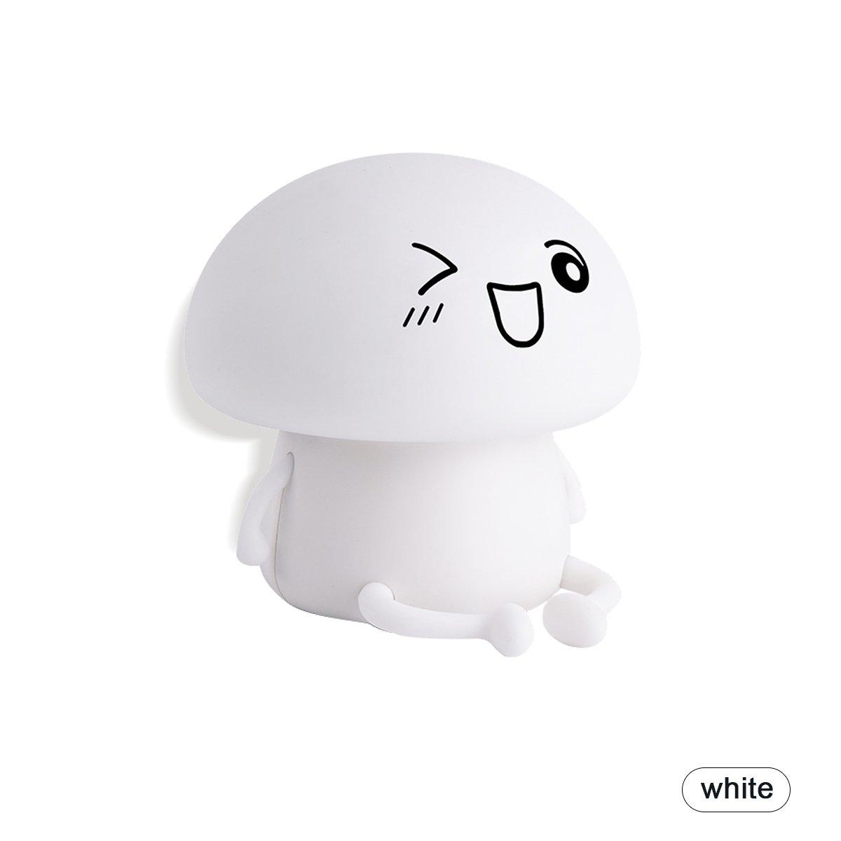 ノベルティSilicon絵文字Mushroom LEDタッチ常夜灯充電式Sensitiveキュートベビー幼児、子供、または子供部屋寝室の子の部屋デスクランプギフト ホワイト B075FRJNC3 14758 ホワイト ホワイト