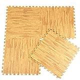 Demiawaking 9-piece EVA puzzle Foam tappetini in finto legno terra tappetino protettivo pavimenti in schiuma cuscino tappeto (beige)