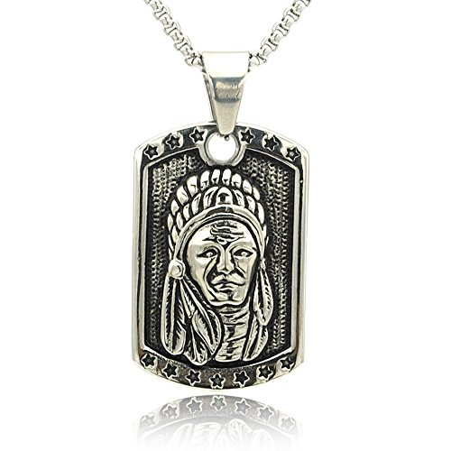 HANDMADE JEWELLERY - Silver Color Stainless steel The Indians Dog Tag men Jewelry Fashion Anniversary Pendant Hot selling Necklace (chief head dog - Men Hot Indian