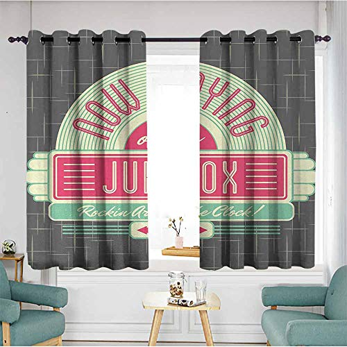 Beihai1Sun Custom Curtains,Jukebox,Charcoal Grey Backdrop with 50s Inspired Radio Music Box Image,Mint Green Hot Pink and White,Treatment Thermal Insulated Room Darkening,W63x45L ()