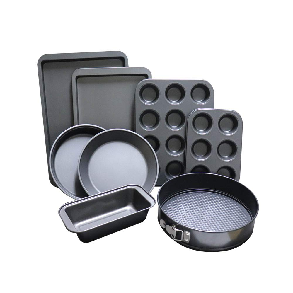 ChaoJia 8-Piece Non Stick Bakeware Set Baking Equipment- with Muffin Tray, Oven Tray, Cake Pan, Loaf Pan & Spring Form Cake Tin