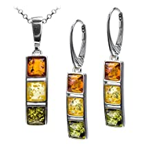 Sterling Silver Multicolor Amber Square Set