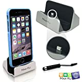 iPhone Charger Docking Station + Mini Stylus Pen + Anti-Dust Plug, Best iPhone Dock with Lightning Cable Connector, Charge and Sync Stand for Desk Compatible Apple iPhone 6, 6S, 6Plus, 6SPlus, 5 5S 5C