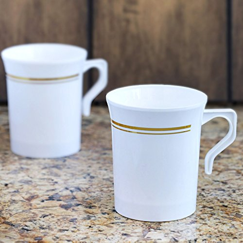 - Tableclothsfactory 40 Pcs - White with Gold 8oz Disposable Plastic Coffee Cups - Tres Chic Collection
