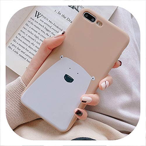 New face Cute Bear Candy Color Phone Case for iPhone 7 8 6 6s Plus Soft TPU Silicone Case for iPhone X Xs max XR Back Cover,IK71-BearKhaki,for iPhone 6plus