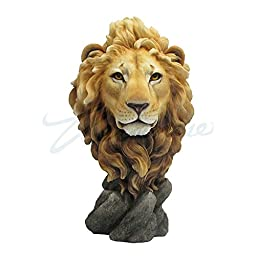 Large Lion Head Bust - King of the Jungle Statue Sculpture