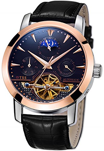 TSS Men's Automatic Skeleton Moonphase Watch Leather Band T8030N0