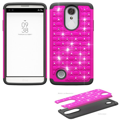 Phone Case for Tracfone LG Rebel-3 L157BL, L158VL (Straight Talk) Crystal-Dual-Layered Rugged Cover (Crystal Pink-Black Silicone)