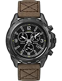 Timex T49986GP Men's Expedition Chronograph Black Dial and Brown Leather Strap Wrist Watch