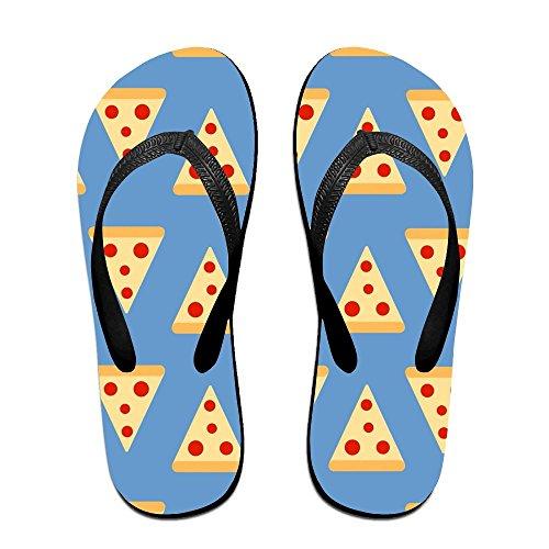 Unisex Pizza Sommar Rem Flip Flops Strand Tofflor Plattformar Sandal För Män Kvinnor Svart