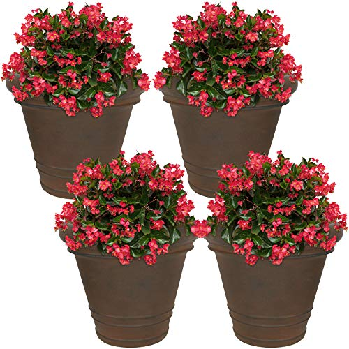 Sunnydaze Crozier Flower Pot Planter, Outdoor/Indoor Heavy-Duty Double-Walled Polyresin with Fade-Resistant Rust Finish, Set of 4, 16-Inch Diameter