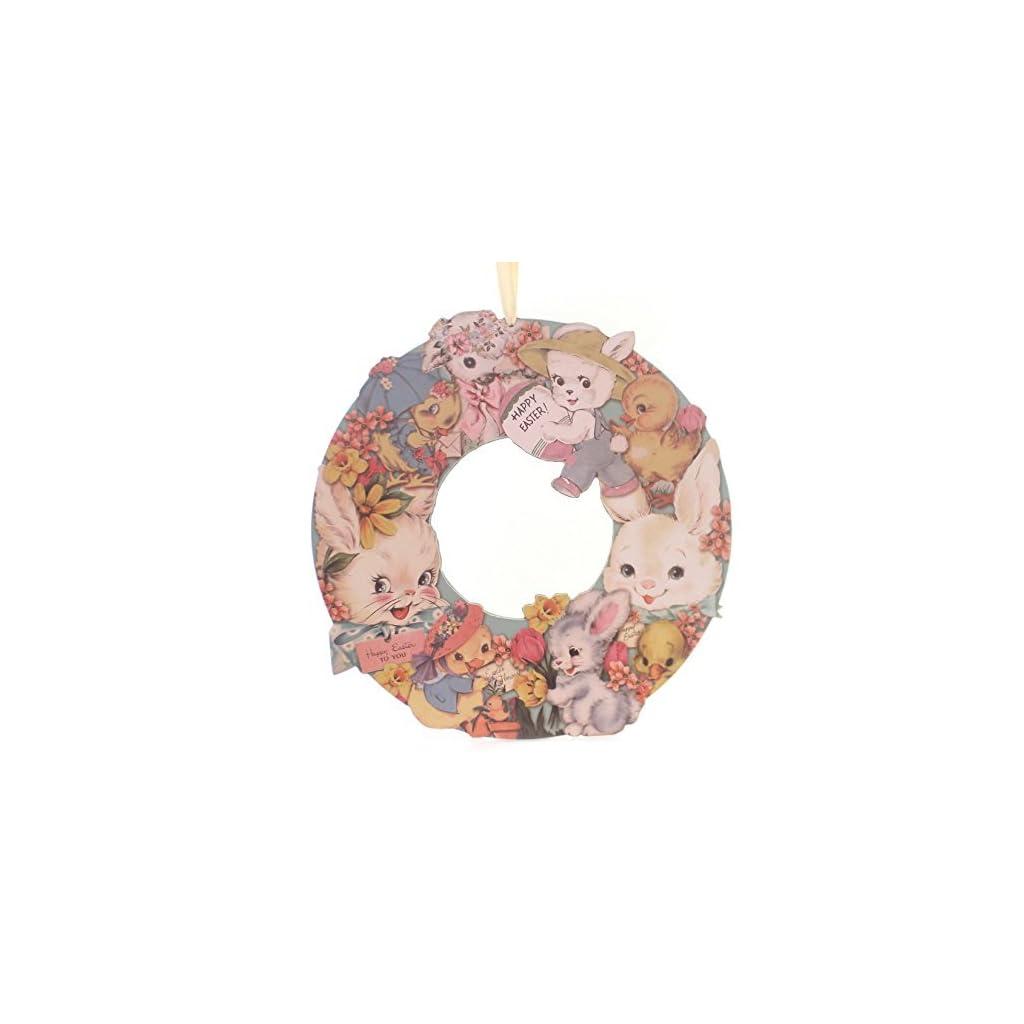 Easter-VINTAGE-EASTER-WREATH-Wood-Bunny-Chicks-Flowers-34805