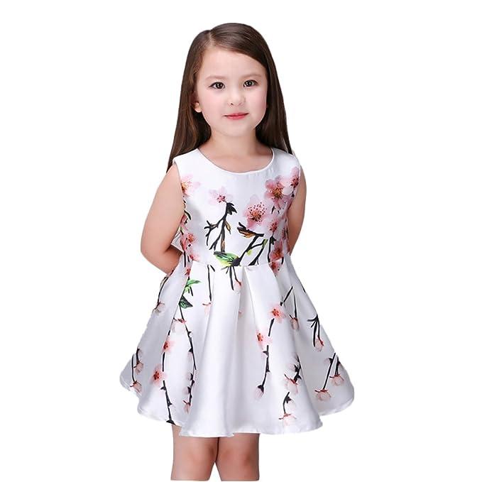 Kidscool Little Girls Sleeveless Peachblossom Print White Princess Dress, 7 - 8 years, White