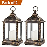 Bright Zeal Pack of 2 Vintage Candle Lantern with LED Flickering Flameless Candle (Distressed Bronze, 8hr Timer, Batteries Included) - Candle Lanterns Decorative - Outdoor Christmas Decorations