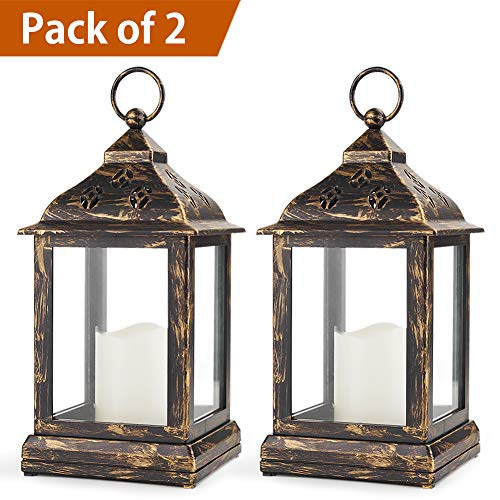 Bright Zeal Pack of 2 Vintage Candle Lantern with LED Flickering Flameless Candle (Distressed Bronze, 8hr Timer, Batteries Included) - Candle Lanterns Decorative - Outdoor Christmas Decorations by Bright Zeal