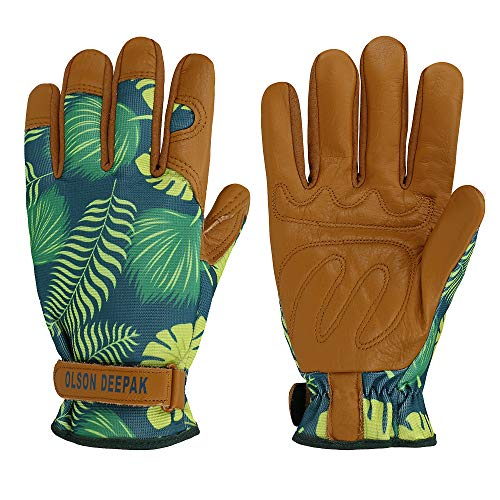 OLSON DEEPAK Womens Gardening Gloves with Grain Leather for Yard Work, Rose Pruning and Daily Work perfect fitting for women Garden Gloves with Fashion palm leaf pattern(Large, normal-cuffs)