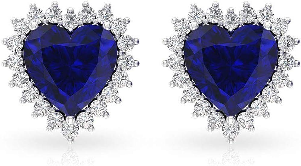 Aretes de zafiro difusos de 3 quilates, solitario con halo de diamante certificado IGI, forma de corazón, pendientes nupciales IJ-SI Color Clarity Diamond, tornillo hacia atrás