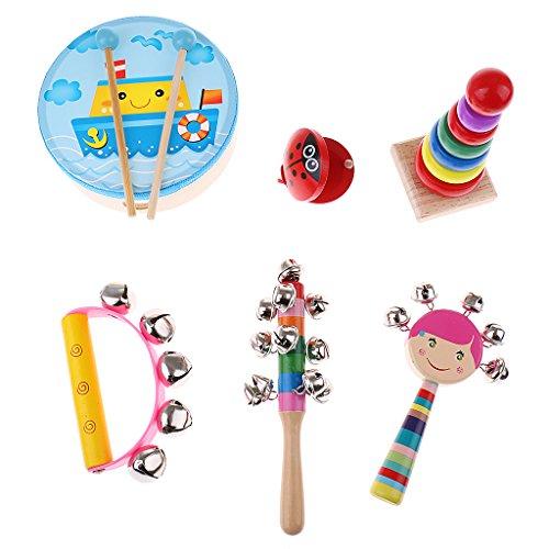 Baoblaze Set Instrumento Musical Juguete Educativo de Madera para Niños Bebé - Cantidad: 6 piezas