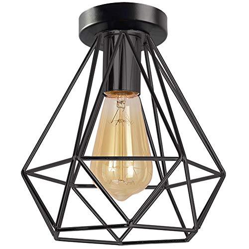 iDEGU Plafondlamp, industriële zwarte kooi, plafondlamp, vintage E27, kroonluchter, plafondlamp van metaal, retro design…