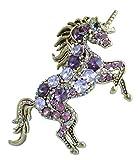 Sindary Purple Rhinestone Crystal Unique Animal Unicorn Horse Brooch Pin Pendant BZ6172