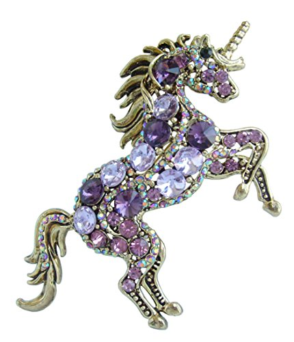 Sindary Unique Animal Unicorn Horse Brooch Pin Pendant Austrian Crystal BZ6172 (Gold-Tone Purple)