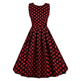 Search : Women's Vintage 1950s Sleeveless Dress with Boat Neck Inspired Rockabilly Swing Dress