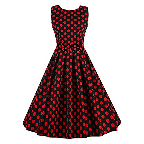 Vintage Ploka Dot Sleeveless Classy Dresses V Back Boat Neck, 3X, V034a-black Red Dots (Ploka Dot)
