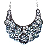 Meticulously Fascinating Crystal Rhinestone Beaded Bib Necklace N81 Black