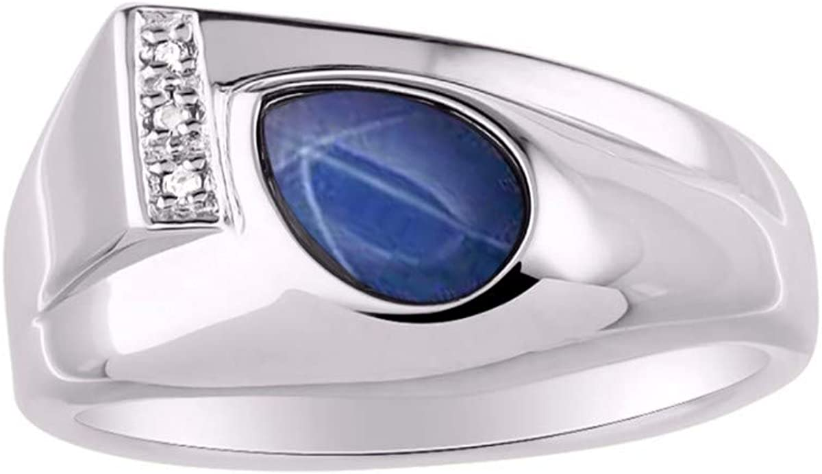 RYLOS Timeless Pear Shape Cabochone Color Stone Gemstone /& Natural Diamond Ring Set in Sterling Silver .925