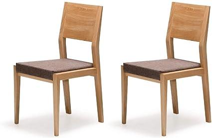 Marchio Amazon Alkove Hayes Set da 2 sedie per tavolo da pranzo in legno massello con seduta imbottita, in quercia selvatica