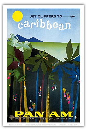 Jet Clippers to Caribbean - Pan American World Airways - Vintage Airline Travel Poster by Aaron Fine c.1960s - Master Art Print - 12in x 18in