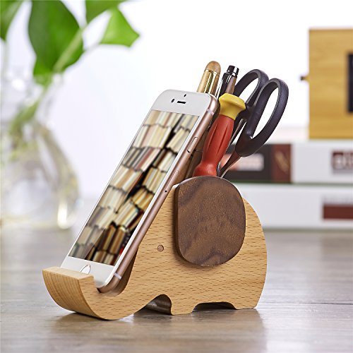 ARTINOVA Elephant Shape Wooden Pen Cup/Pen Holder Desk Organizer with Cell Phone Stand ARTA-0057