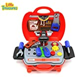 Little Treasures Dazzling 11 pcs Construction Play Set Features a Mini Tool Chest with Equip able Saw, Hand Saw, Hammer, Screwdriver and Other Tools