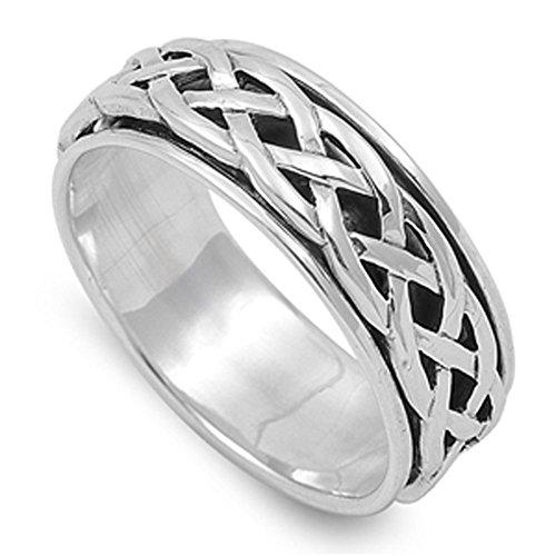 Spinner Men's Wedding Celtic Weave Ring New .925 Sterling Silver Band Size 13