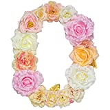 "Artificial Pink Floral Decorative Letters, Alphabet Letters With Fake Flowers For Special Occasion/ Event , 12.2""x9.4""x0.6"", For Bedroom/ Corridor/ Front Door/ Nursery (Letters, O)"