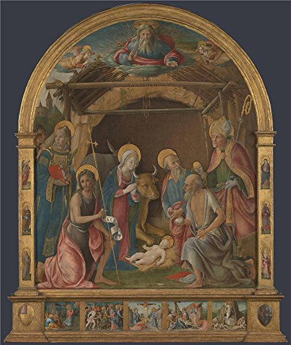 Oil Painting 'Pietro Orioli The Nativity With Saints Altarpiece', 18 x 21 inch / 46 x 54 cm , on High Definition HD canvas prints is for Gifts And Garage, Home Theater And Nursery Decoration, fast
