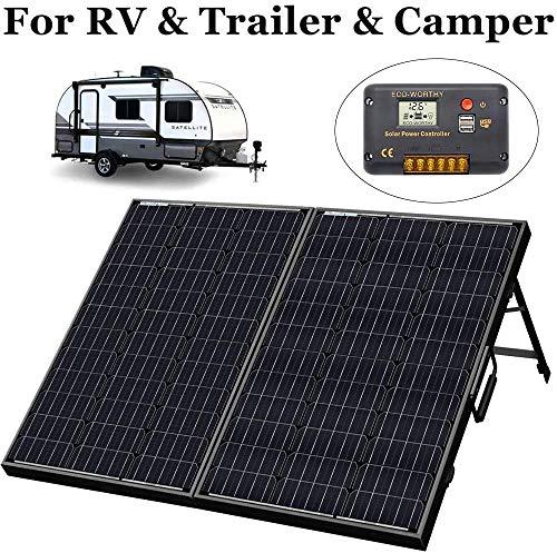 ECOWORTHY 50 W 100 W 120 Watt 12 Volt Off-Grid monokristallin tragbar faltbar Solarpanel Koffer mit Laderegler, 100 W (Polyester) mit Akku.