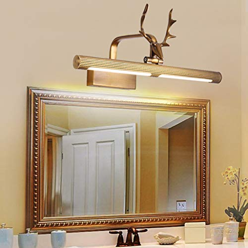 Mbd Copper Deer Head Mirror Front Light Bathroom Mirror Wall Lamp Waterproof Spotlight Lighting (Size : 84.5cm) by Mbd (Image #5)