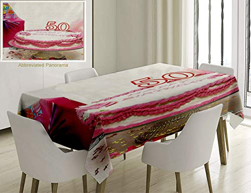 Unique Custom Cotton And Linen Blend Tablecloth 50Th Birthday Decorations Delicious Cake Golden Color Stars Party Hat Gift Box Special Day MTablecovers For Rectangle Tables, Small Size 48 x 24 -
