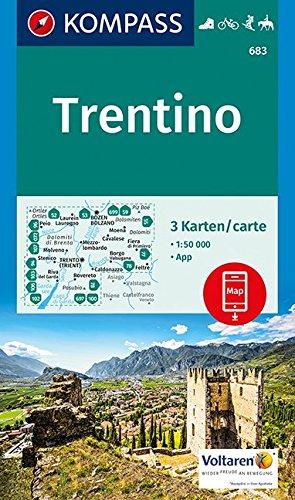 Trentino: 3 Wanderkarten 1:50000 im Set inklusive Karte zur offline Verwendung in der KOMPASS-App. Fahrradfahren. Skitouren. Reiten. (KOMPASS-Wanderkarten, Band 683)